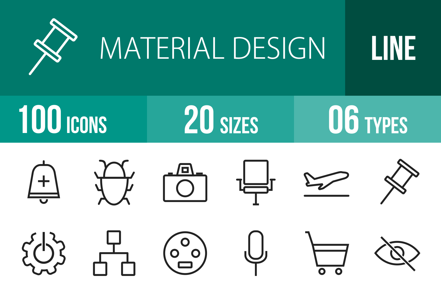 100 Material Design Line Icons example image 1