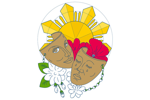 Drama Mask Philippine Sun Hibiscus Sampaguita Flower Mono Line example image 1
