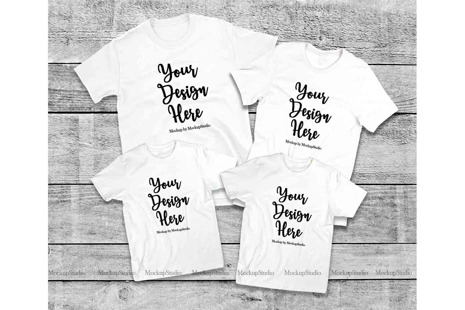 Matching Family White T-Shirts Mockup, 4 Parents Kids Shirts example image 1