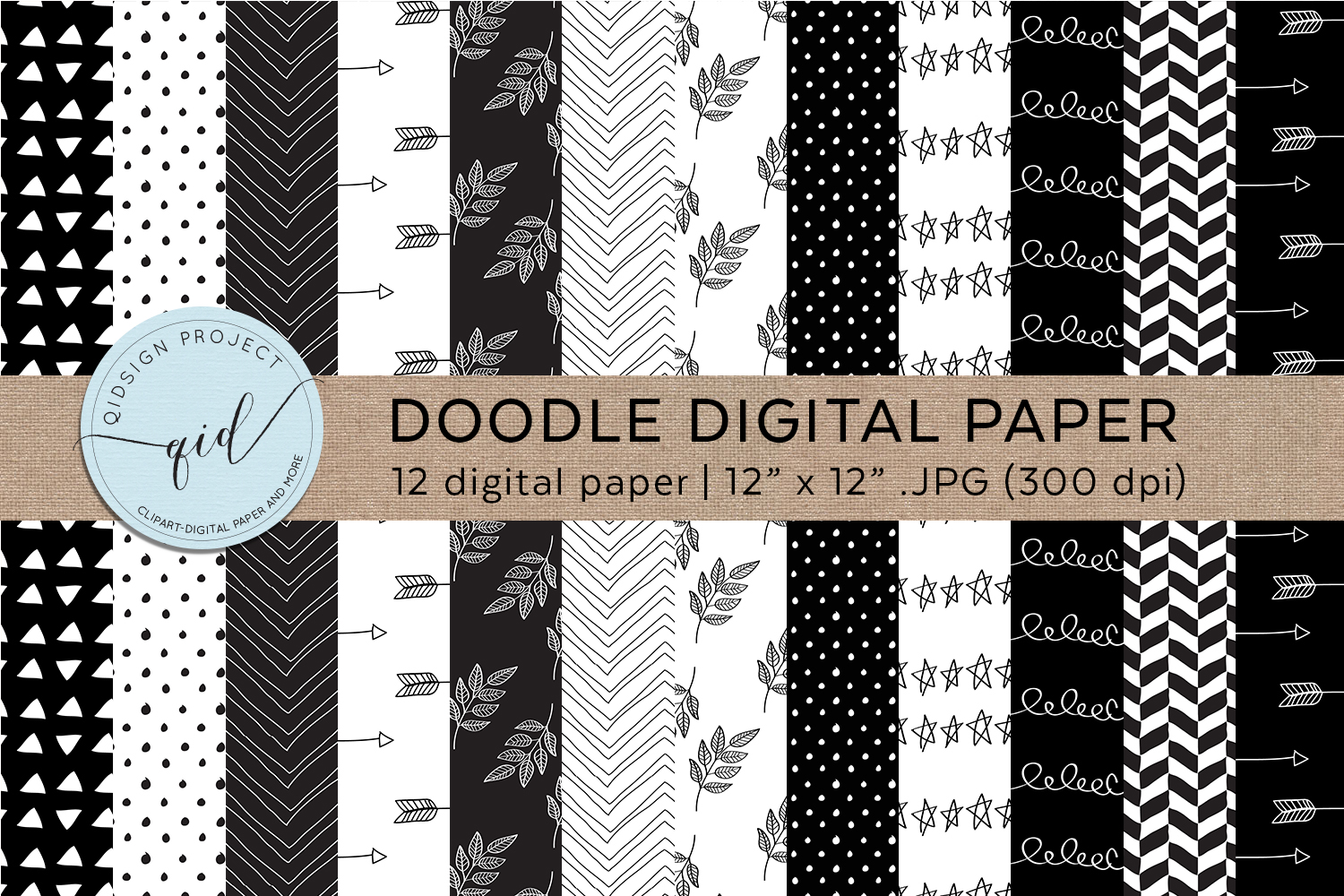 Doodle Digital Paper Black And White example image 1