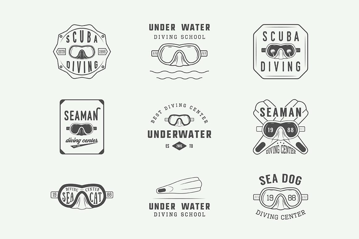 Set of vintage diving emblems example image 3