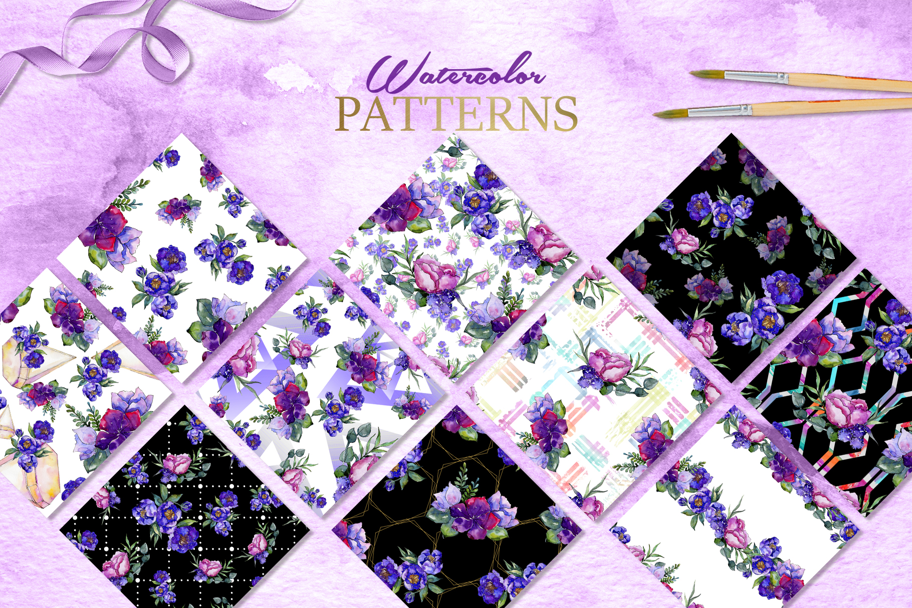 Bouquets of purple flowers Watercolor PNG example image 4