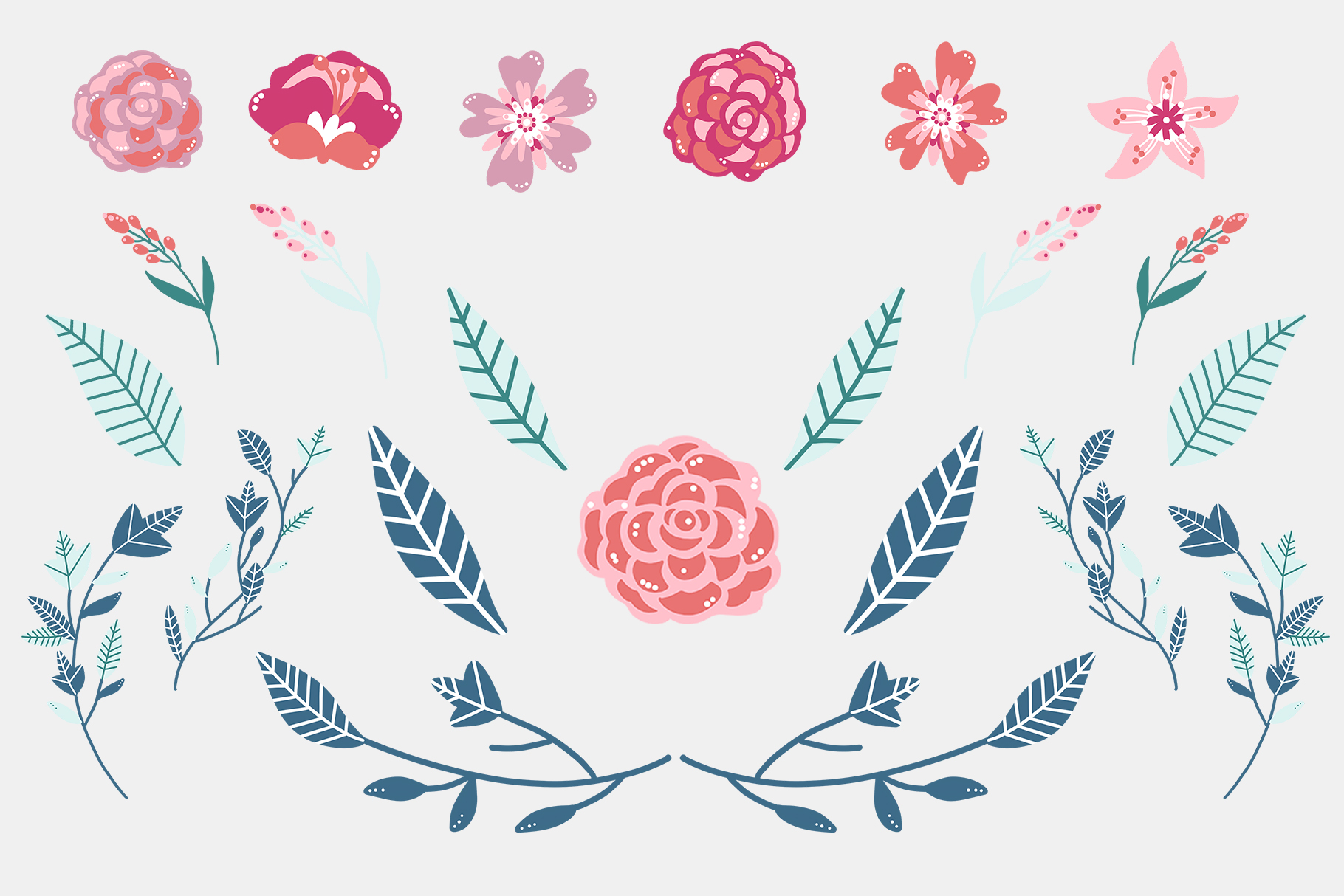 Pink Floral Clip Art, Pink Blush, Bouquets Scrapbooking, PNG example image 5