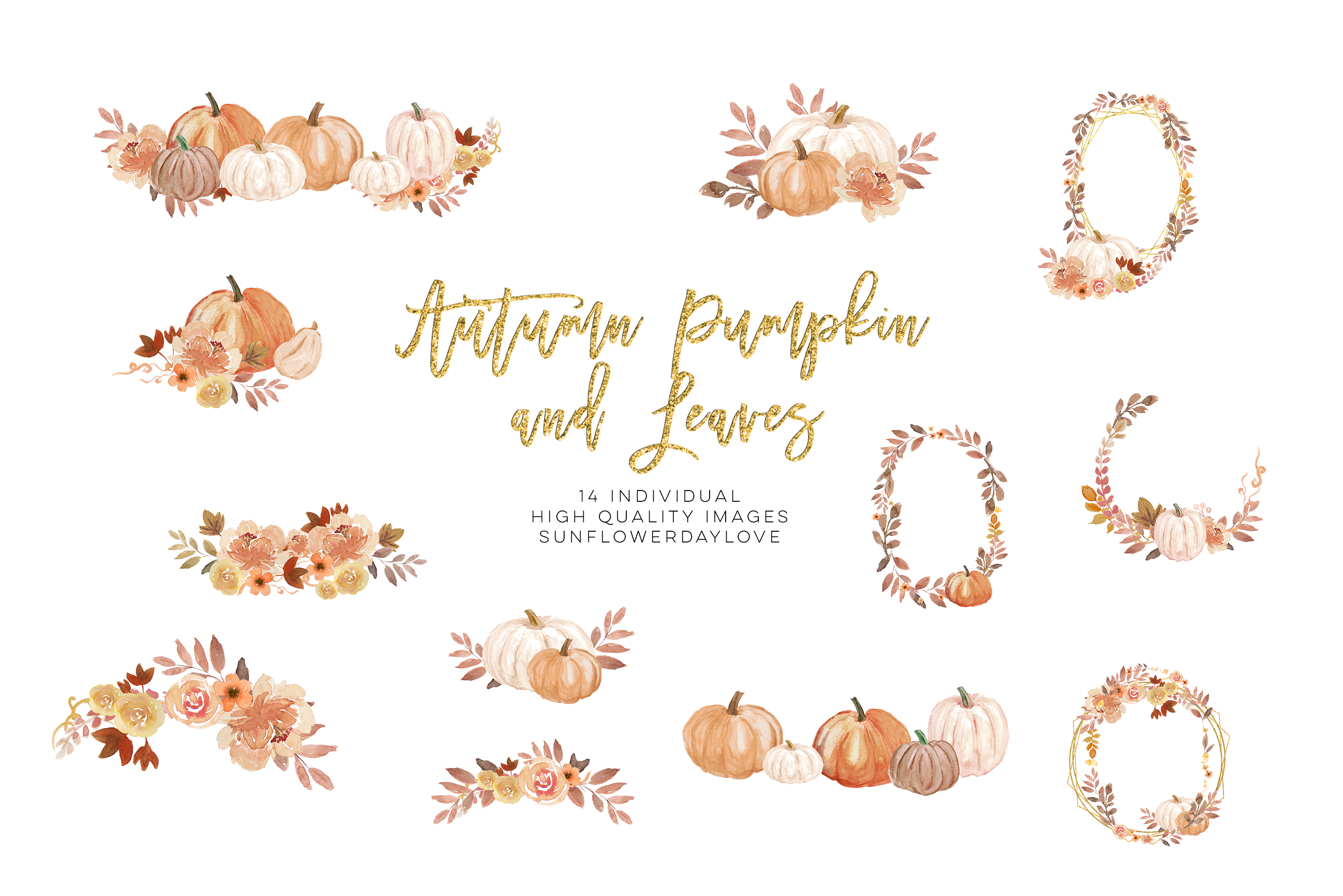 Autumn Wreath Pumpkin and leaves clipart example image 3
