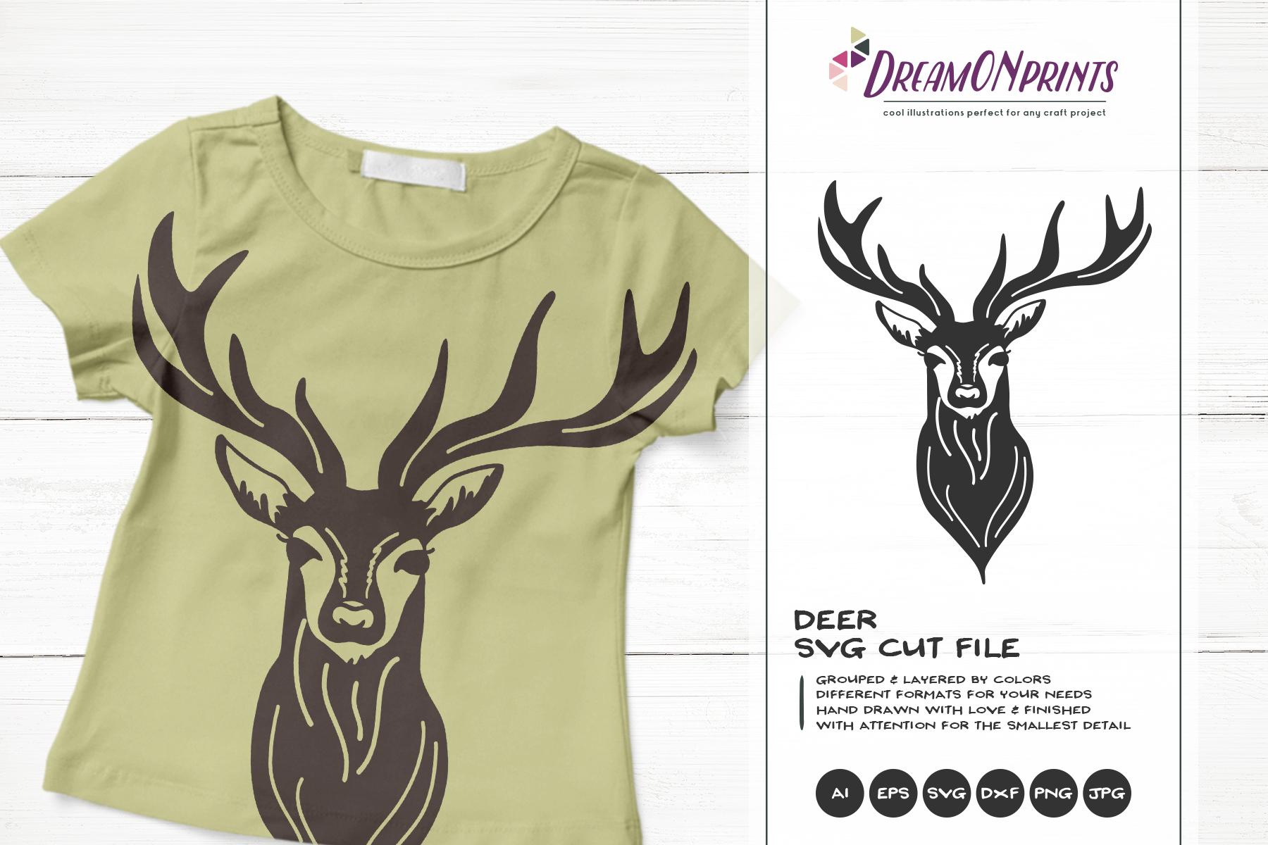Deer SVG Cut Files | Reindeer SVG Silhouette example image 1