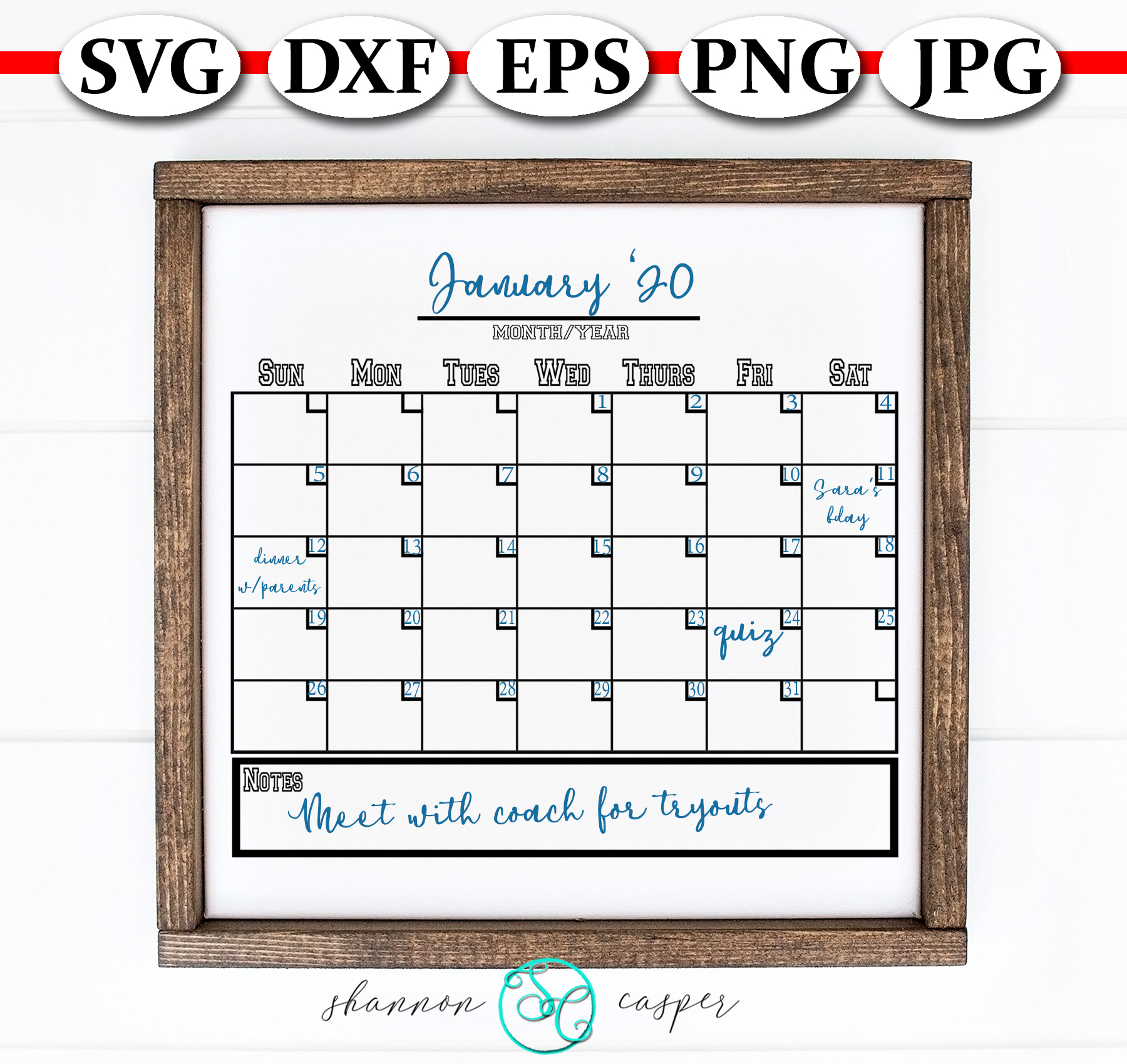 Blank Monthly Calendar SVG example image 2