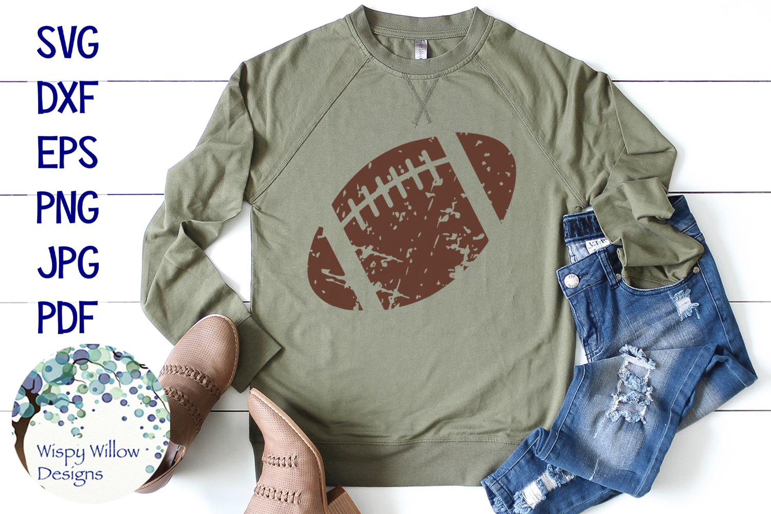 Distressed Grunge Football | Sports SVG example image 2