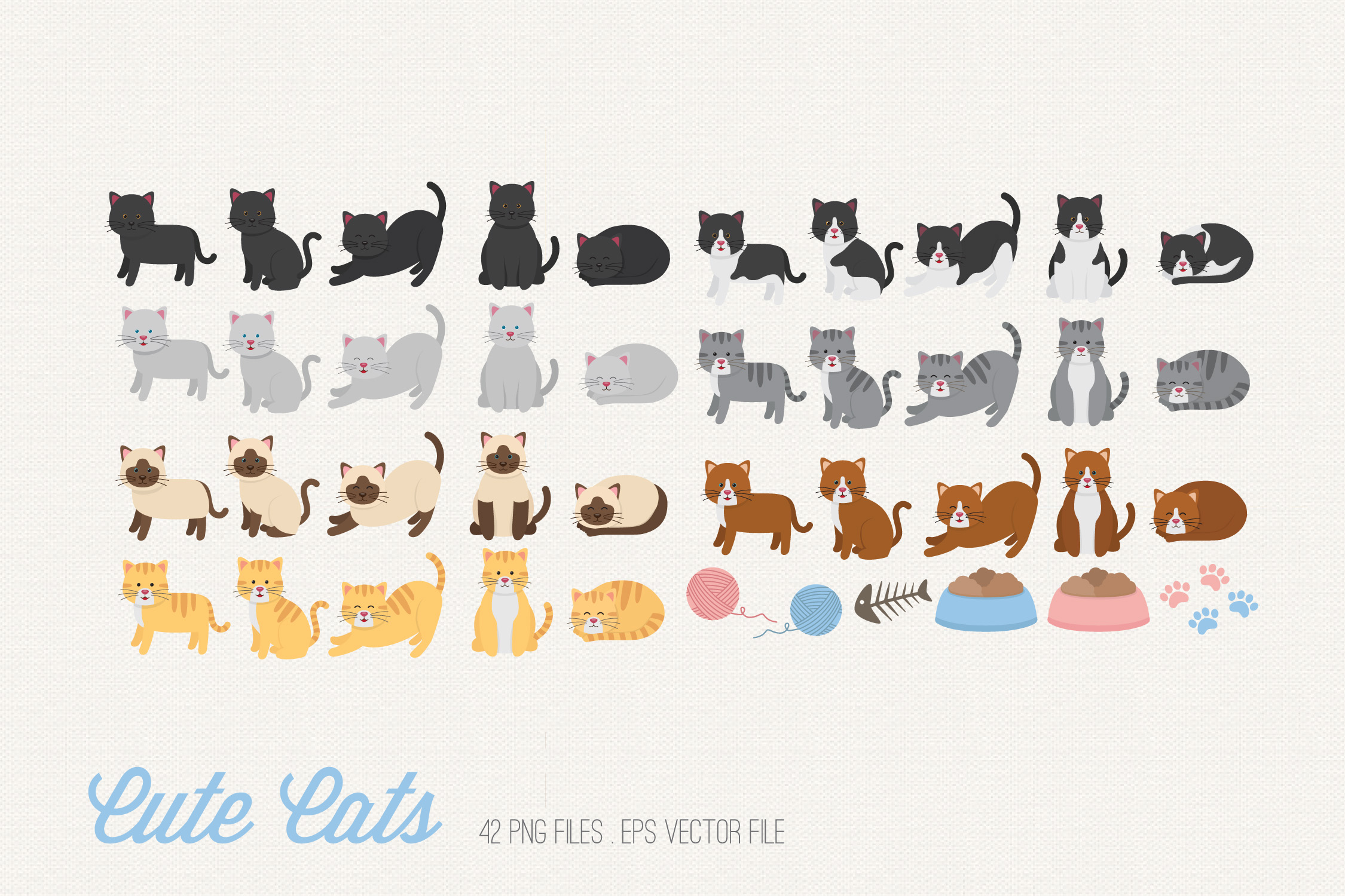 Cute Cats Clipart example image 2