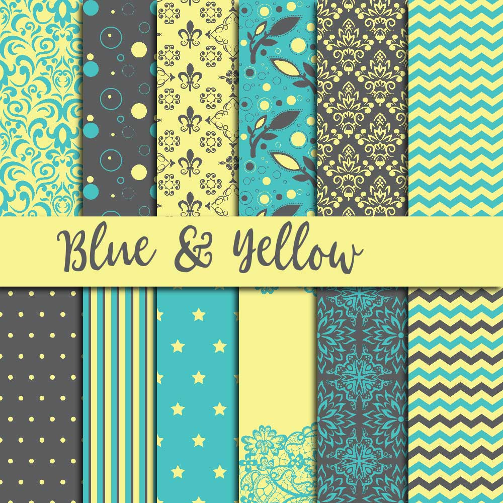 Blue & Yellow Digital Paper example image 1