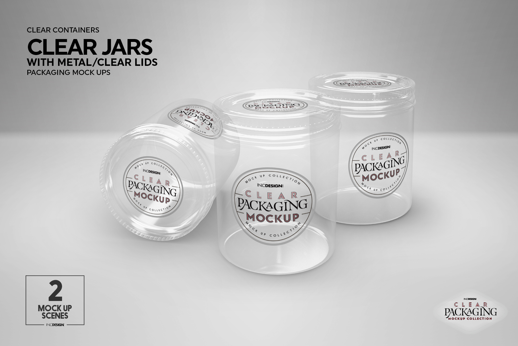 Clear Jars with Metal /Clear Lids Mockup example image 2