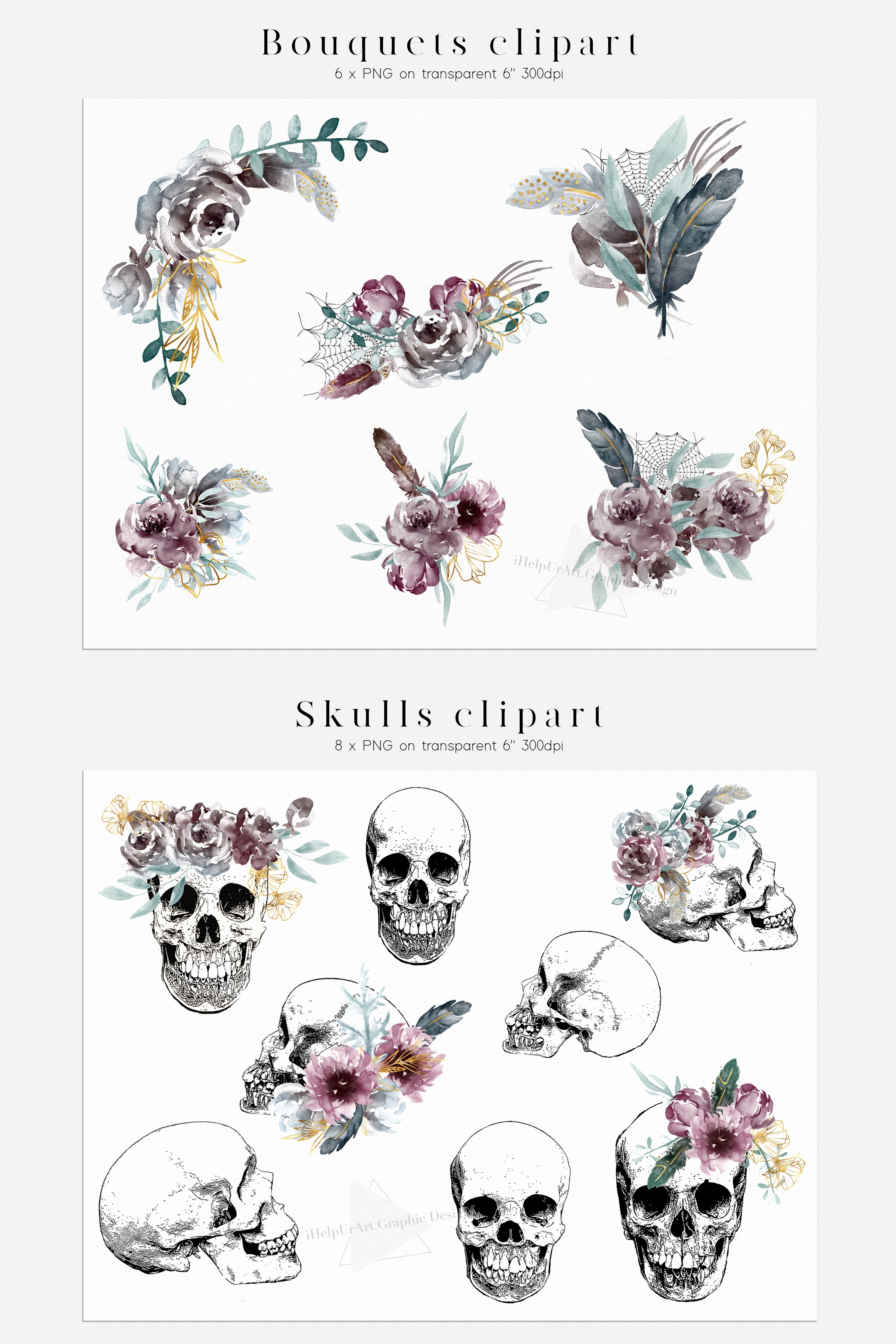 Halloween Design Bundle - Skulls and Flowers Clipart example image 4