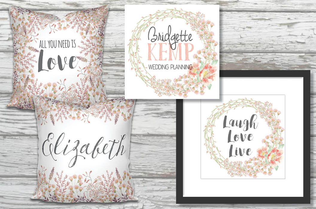 Watercolor border in peachy blush tones example image 5