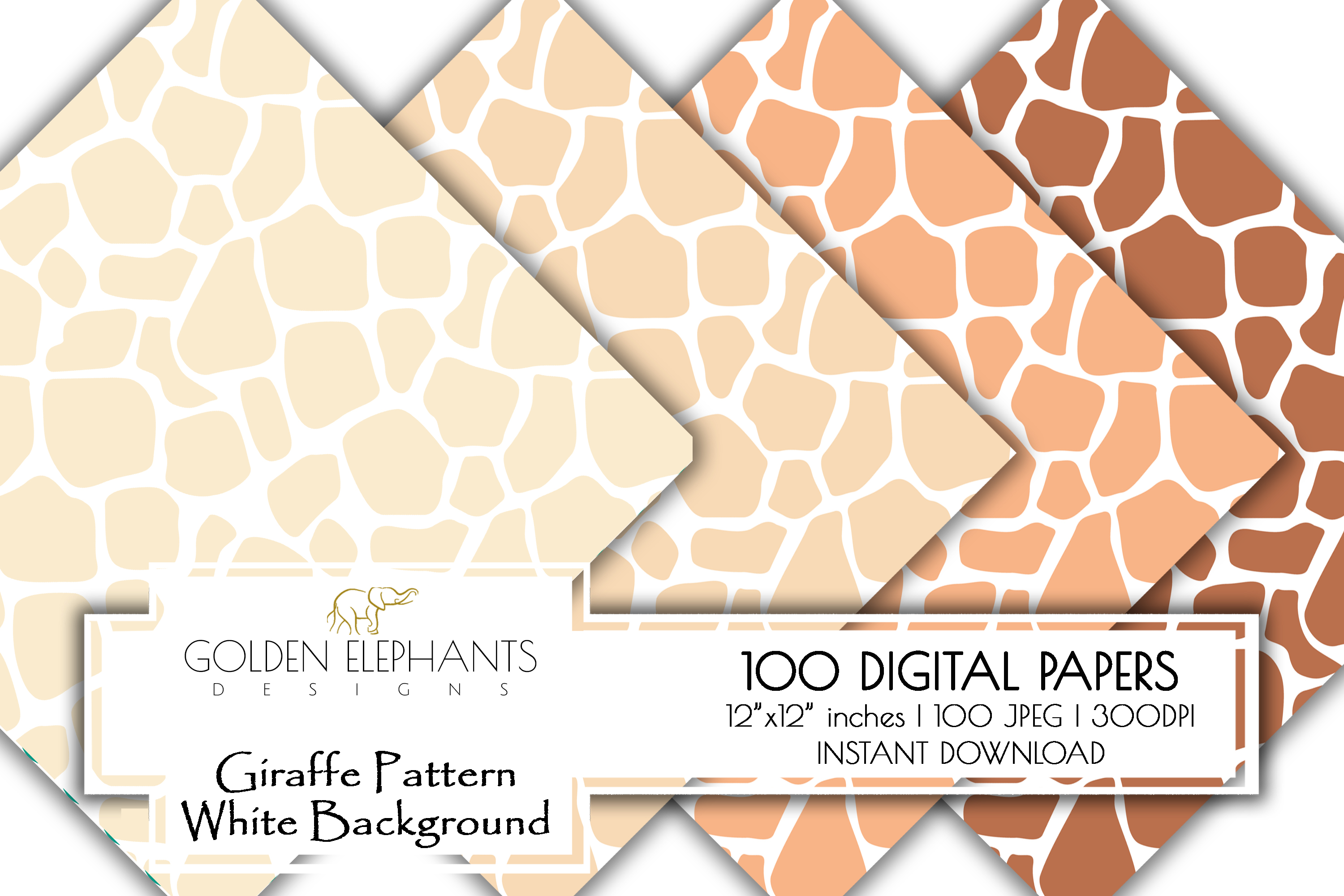 100 Giraffe Pattern w/ White Background Digital Paper example image 2