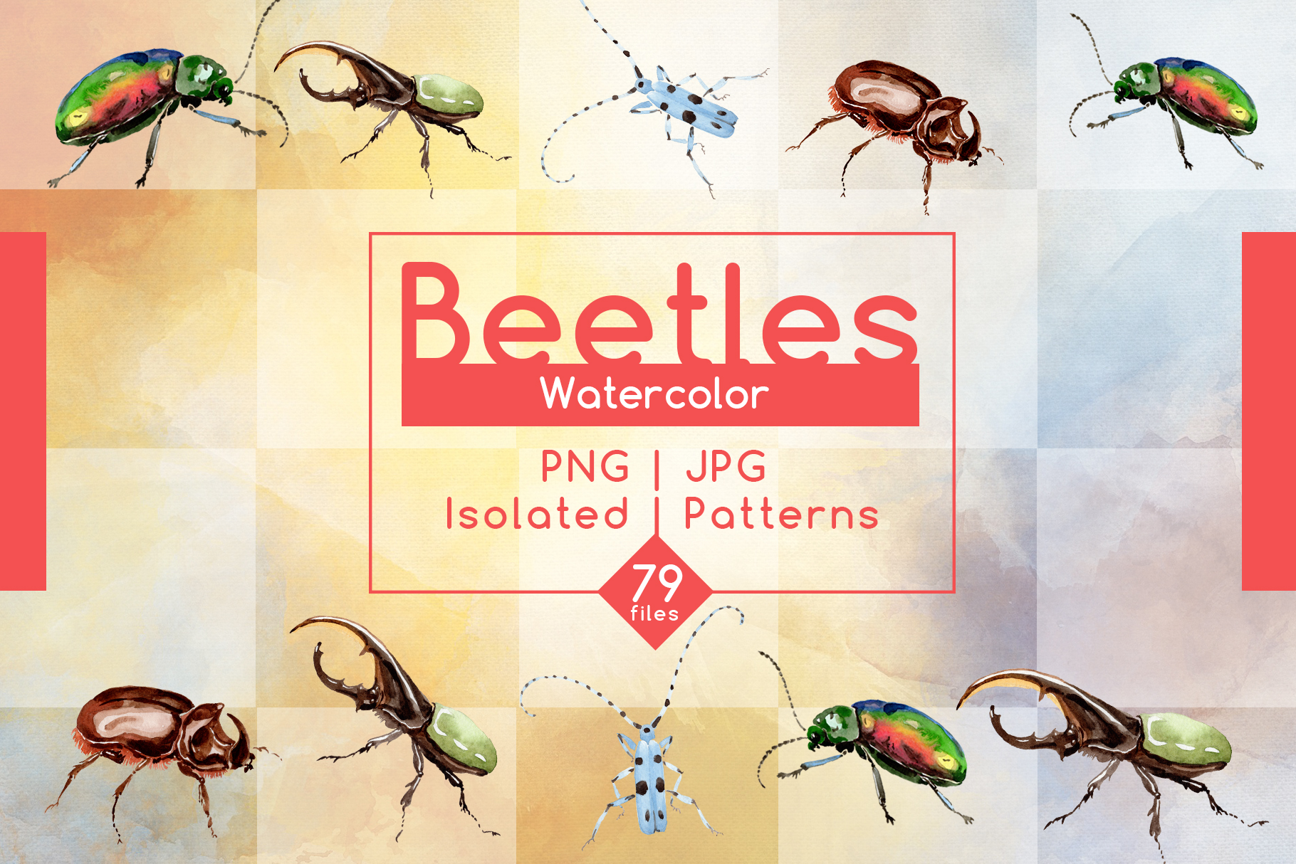 Beetles JPG watercolor set  example image 1