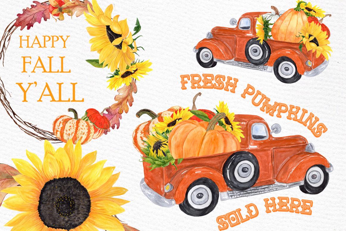 Pumpkin Clipart, TRUCK WITH PUMPKINS, Thanksgiving clipart example image 1
