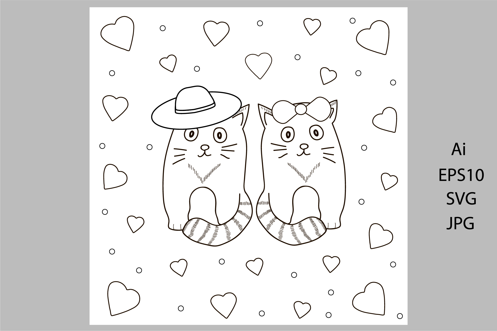 Digital coloring page. Card with cats and hearts example image 1