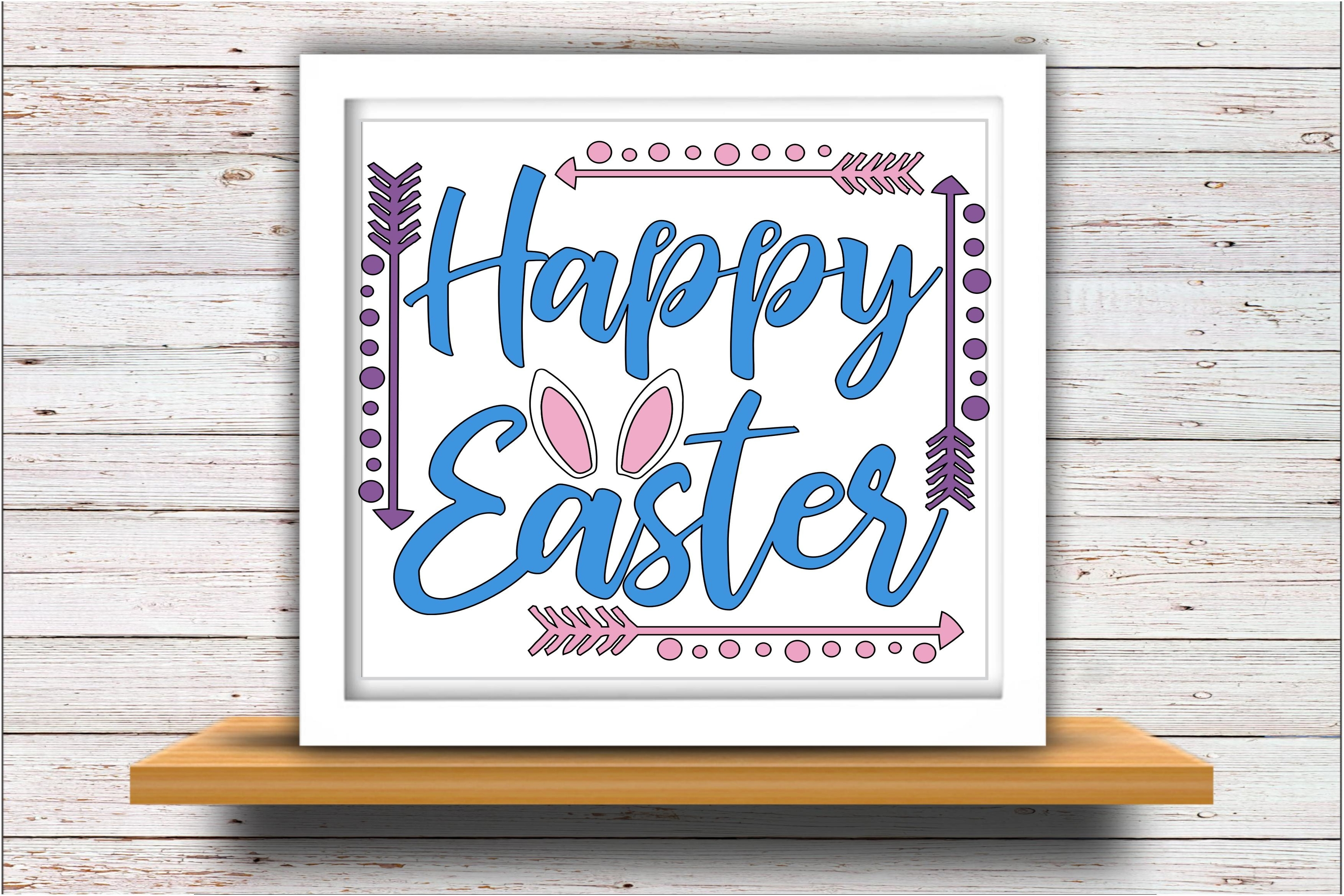 Happy Easter SVG DXF JPEG Silhouette Cameo Cricut Bunny ears example image 2