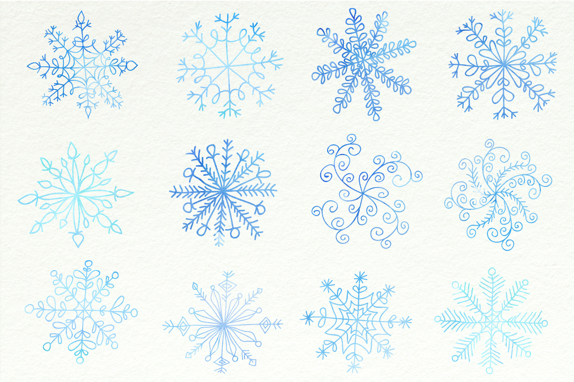 Watercolor Snowflakes Set Vol.1 example image 3