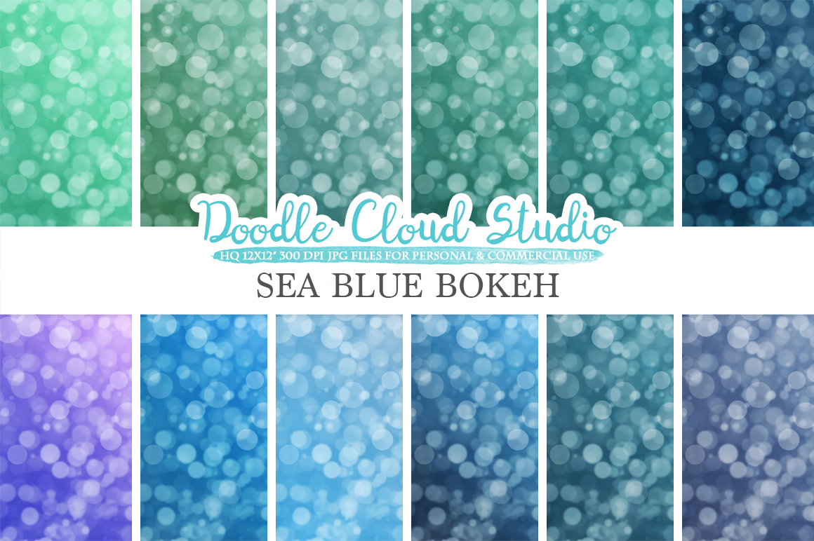 Sea Blue Bokeh digital paper, Sea Blue colors Bokeh Overlay, Bokeh backgrounds, Instant Download, for Personal & Commercial Use example image 2