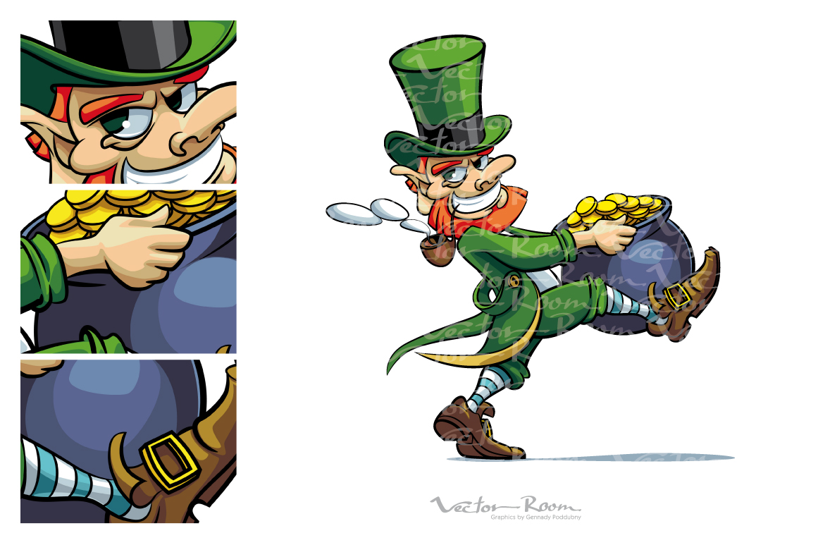 Leprechaun stealing Pot of Golden Coins example image 1