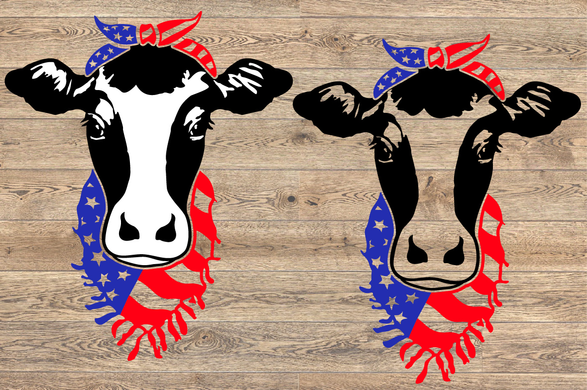 Cow Head whit Bandana and Scarf US flag SVG heifer 1273s example image 2