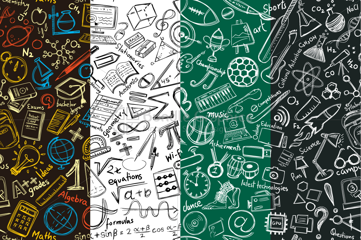 High School Education - Graphic Illustrative Pattern example image 1