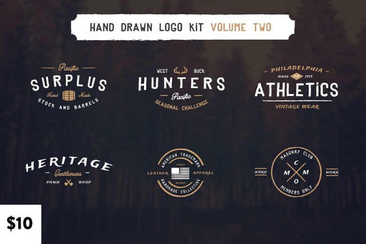 Vintage Hand Drawn Logos Volume Two example image 1