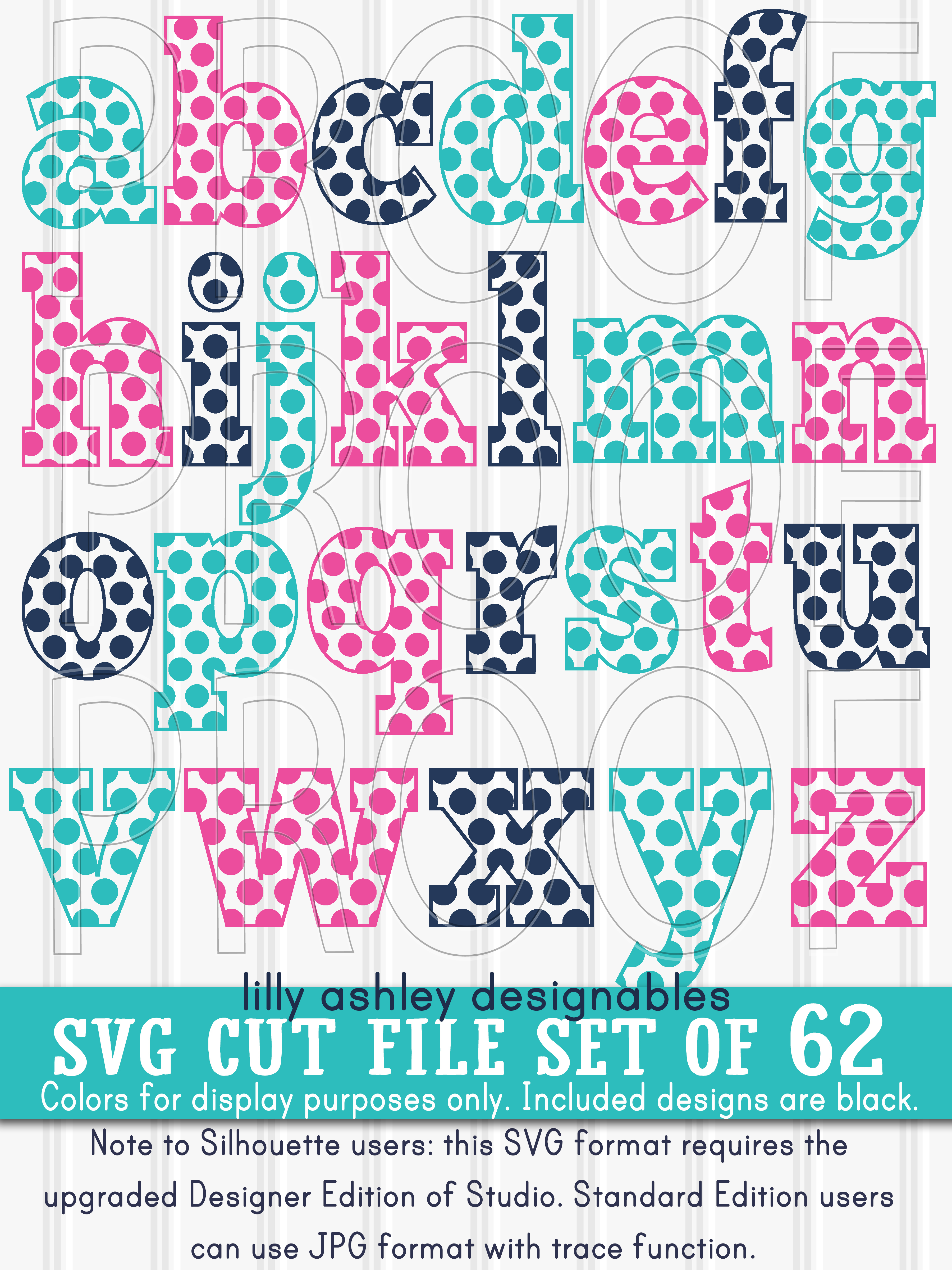 SVG Files Set of 62! Letter and number set includes Uppercase, Lowercase, and Numbers 0-9 svg/png/jpg example image 2