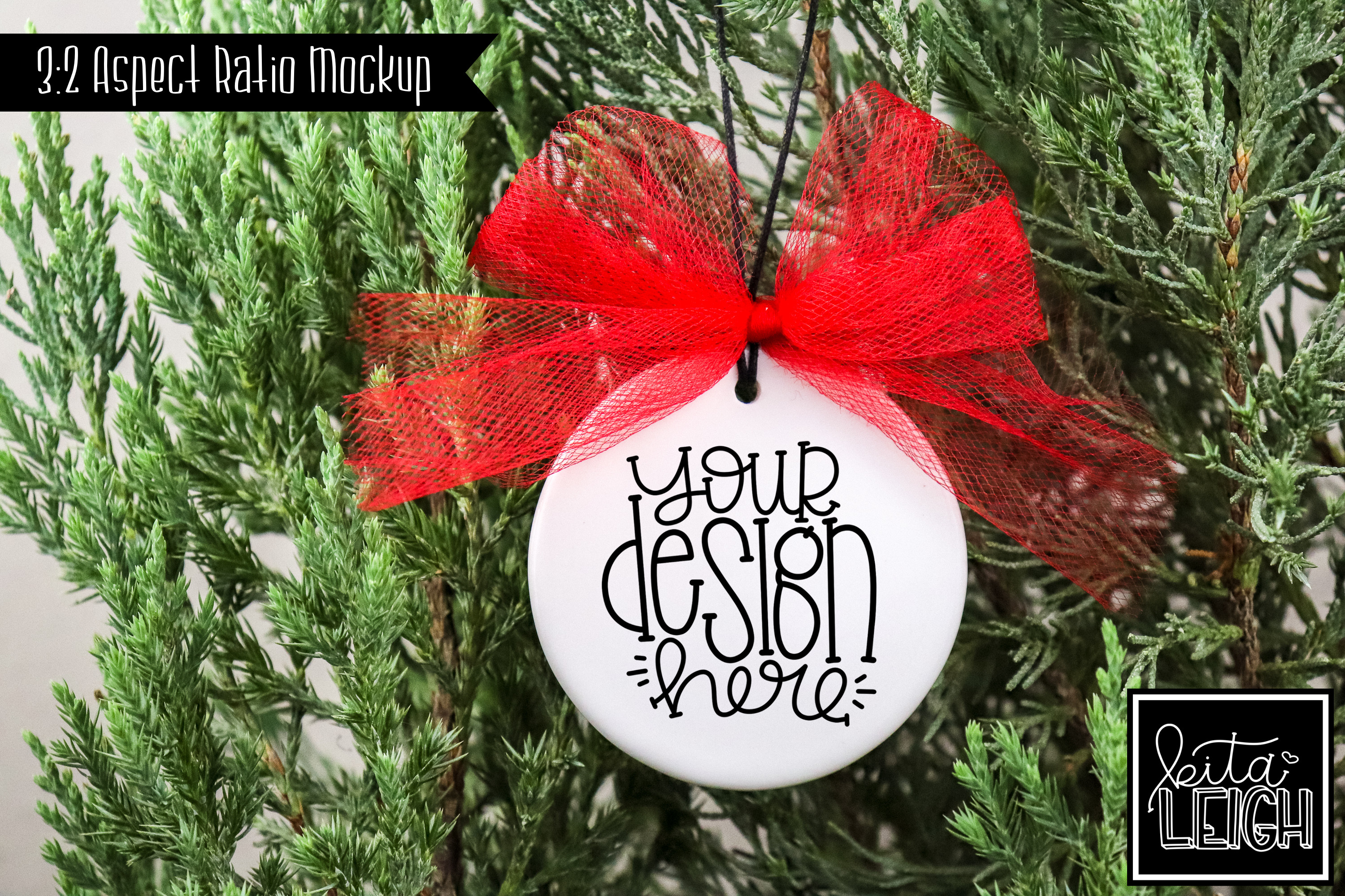 Red Tulle Flat Ceramic Ornament Mockup example image 1