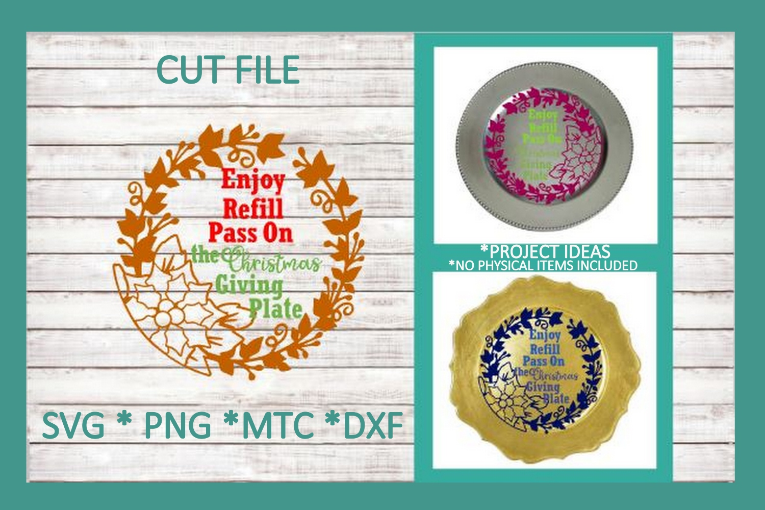 SVG Cut File Christmas Giving Plate BUNDLE Set 01 example image 3
