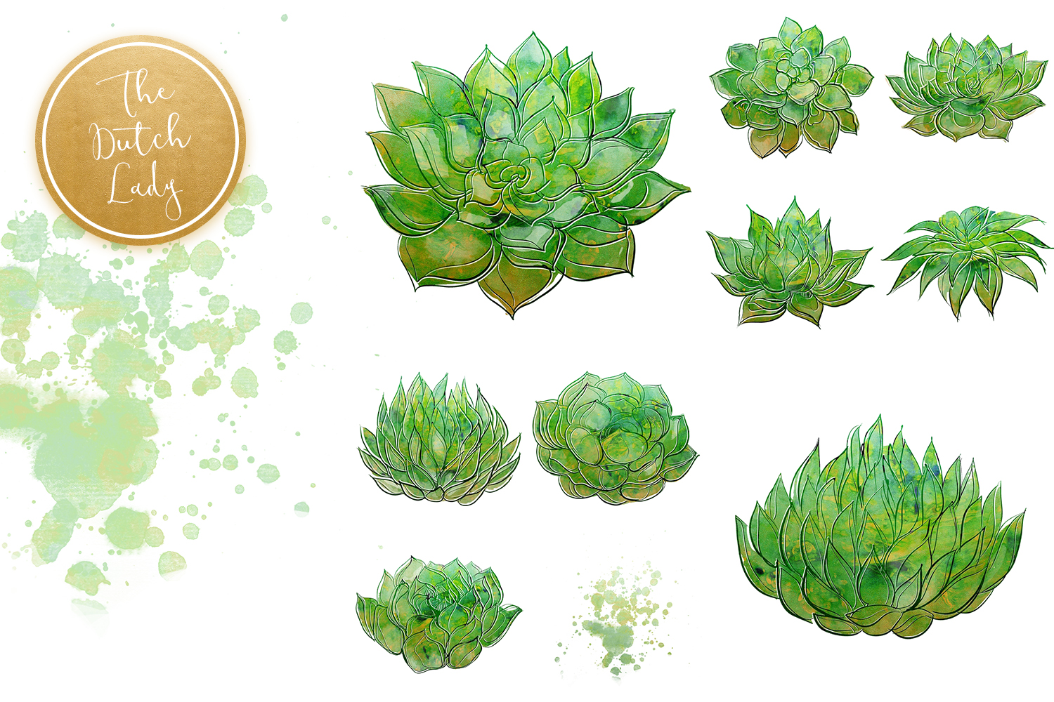 Succulent Potted Plant Clipart Set example image 5