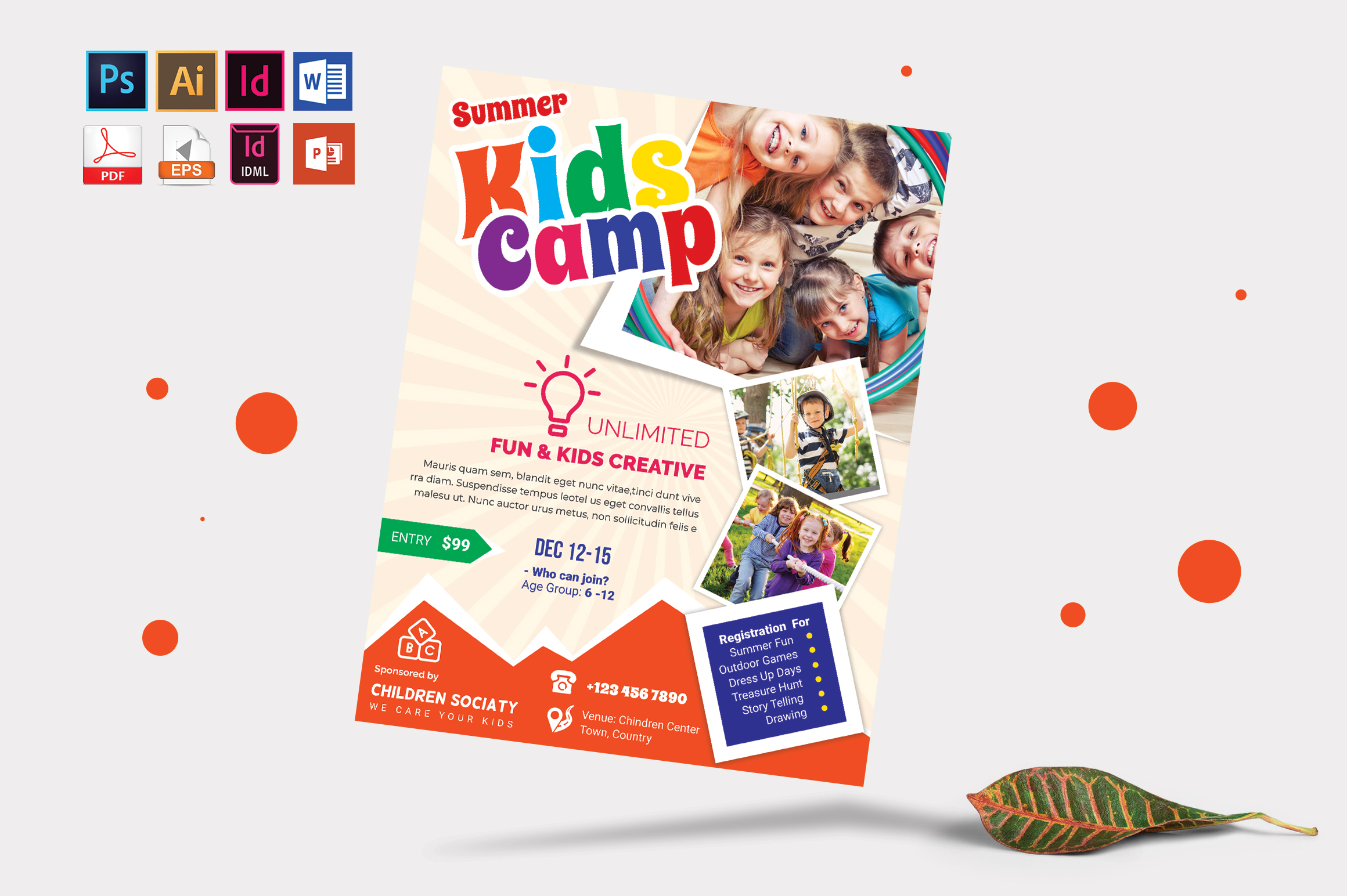 Kids Summer Camp Flyer Vol-08 example image 1