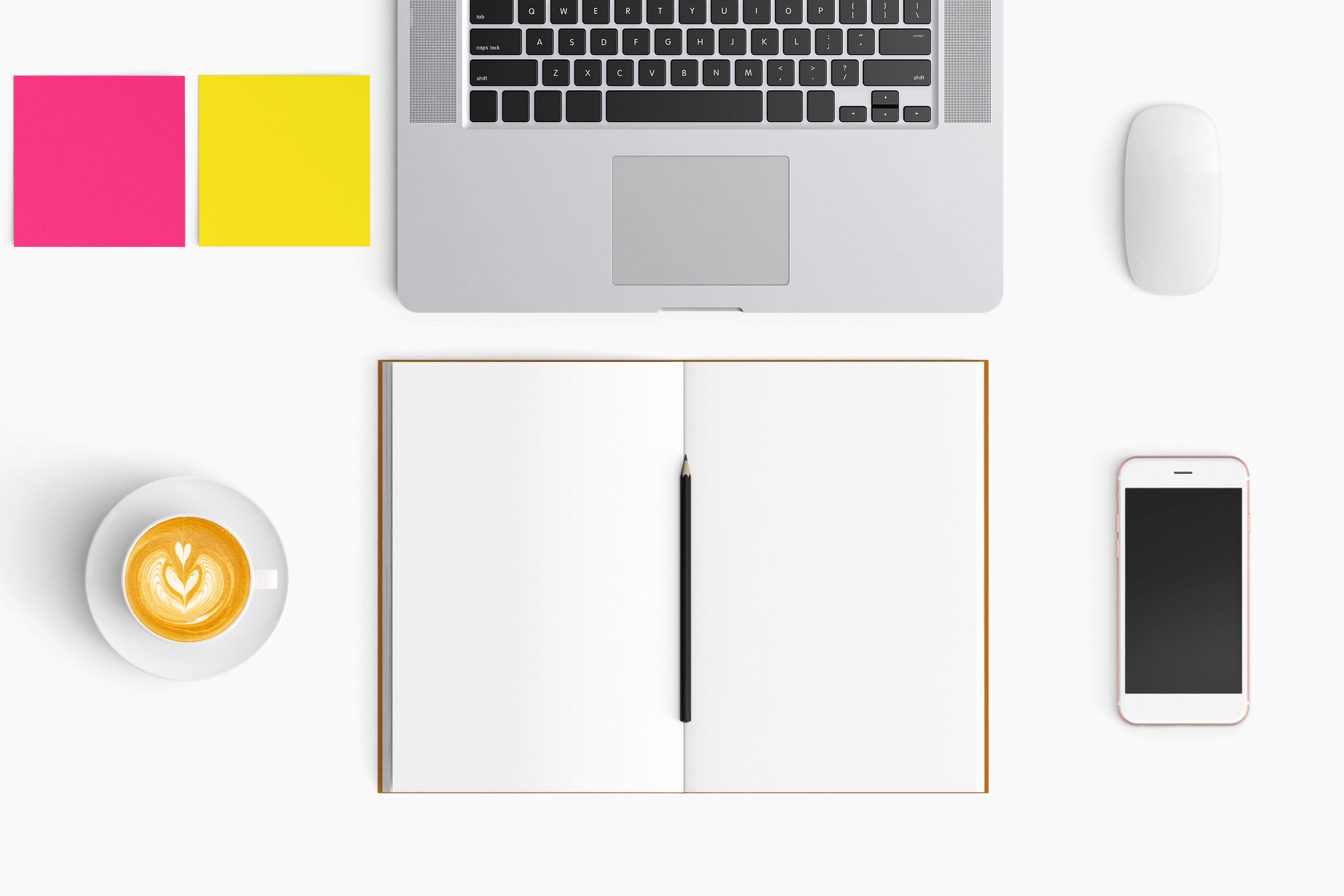 Modern workplace. Top view. Flat lay style. 25 example image 1