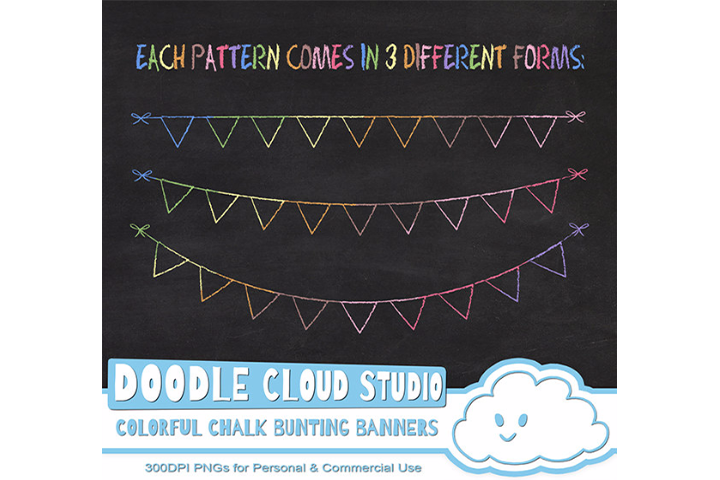 Colorful Chalk Bunting Banners Cliparts, Colorful Chalkboard Bunting Flags, Chalkboard clip art, Instant Download, Personal & Commercial Use example image 3