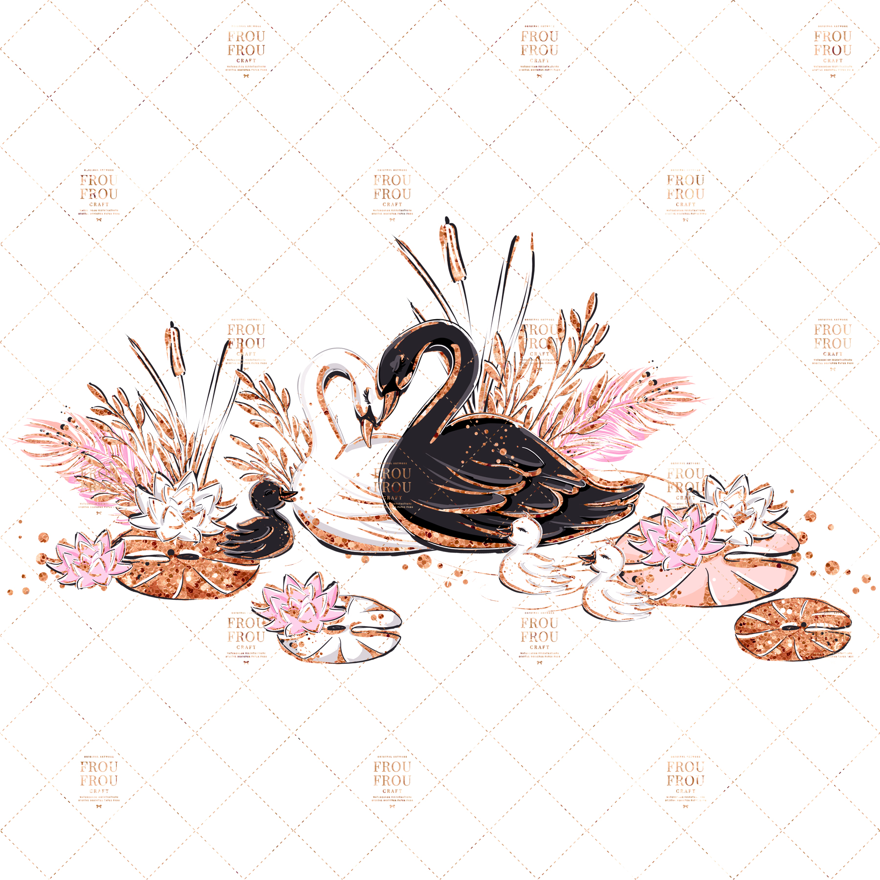 Swan Rose Gold Glitter Nursery Clip Art example image 3