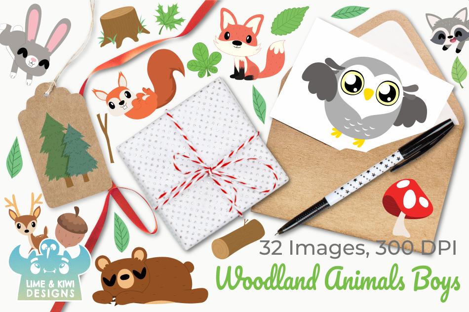 Woodland Animals Boys Clipart, Instant Download Vector Art example image 4