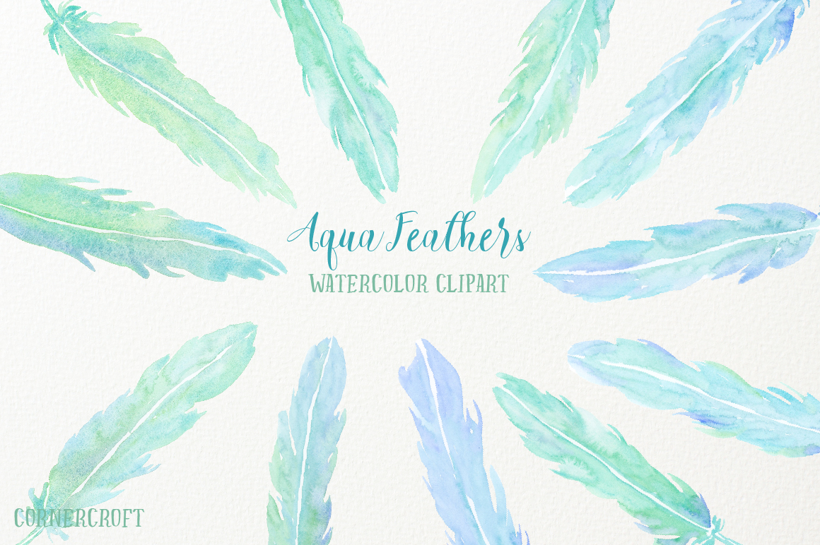 Watercolor Aqua Feathers example image 7