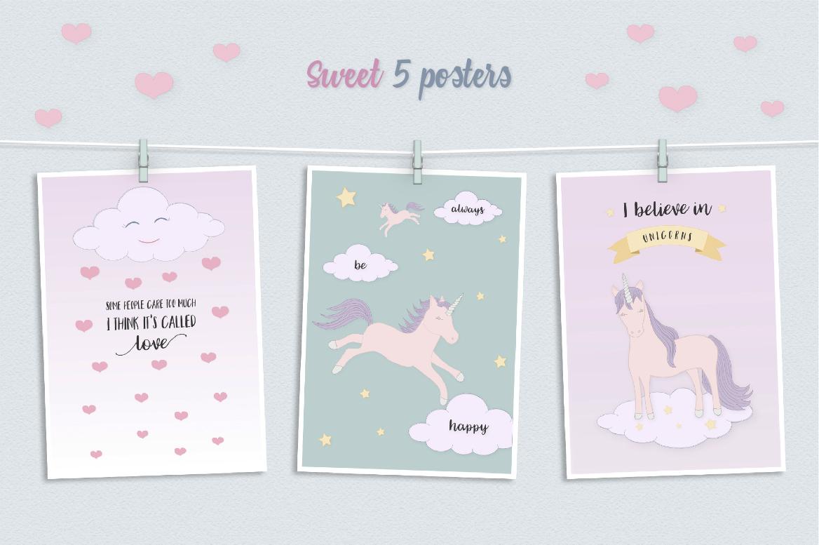 Cute Funny Unicorn Illustration Set example image 3