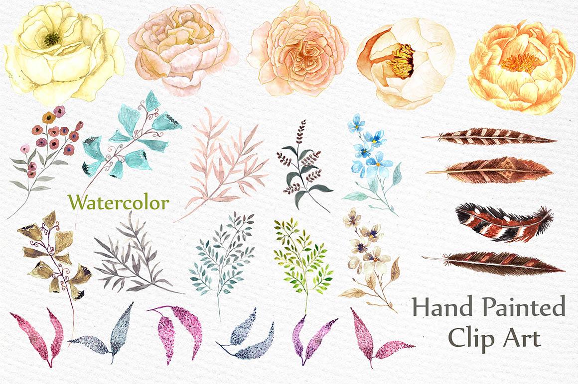 Watercolor wedding clip art example image 2