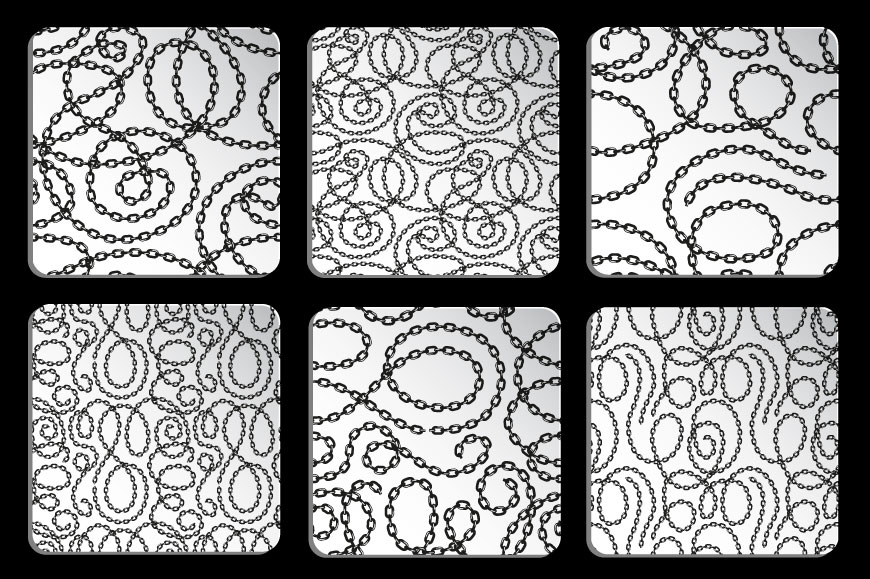 Vector tangled chains seamless patterns set example image 3