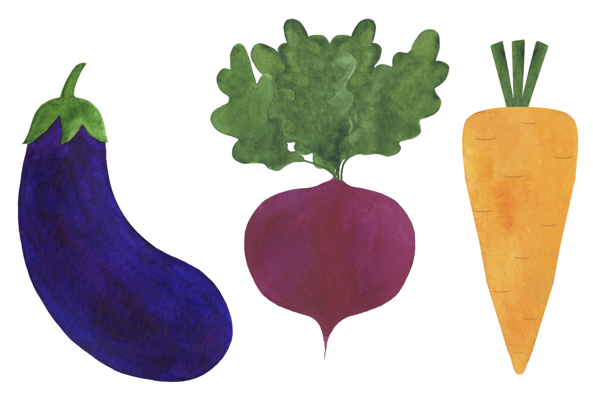 Watercolor vegetables collection example image 2