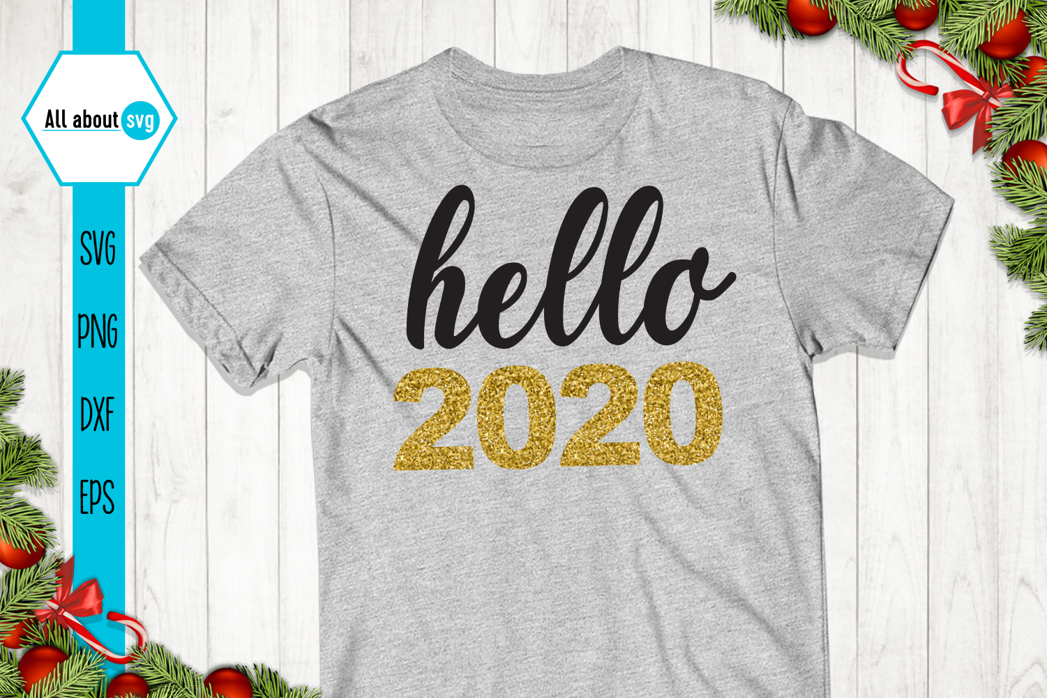 Hello 2020 Svg, New Year Svg example image 3
