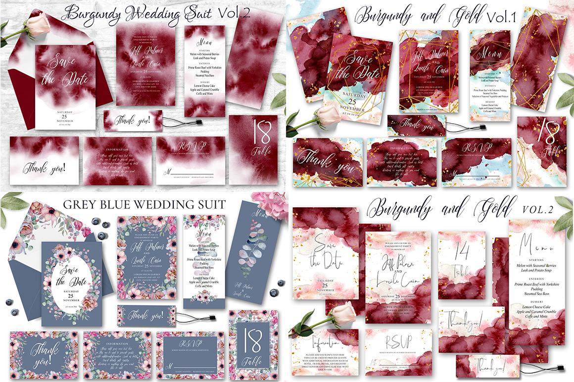 Watercolor Wedding Invitations Suits. GIANT BUNDLE example image 7