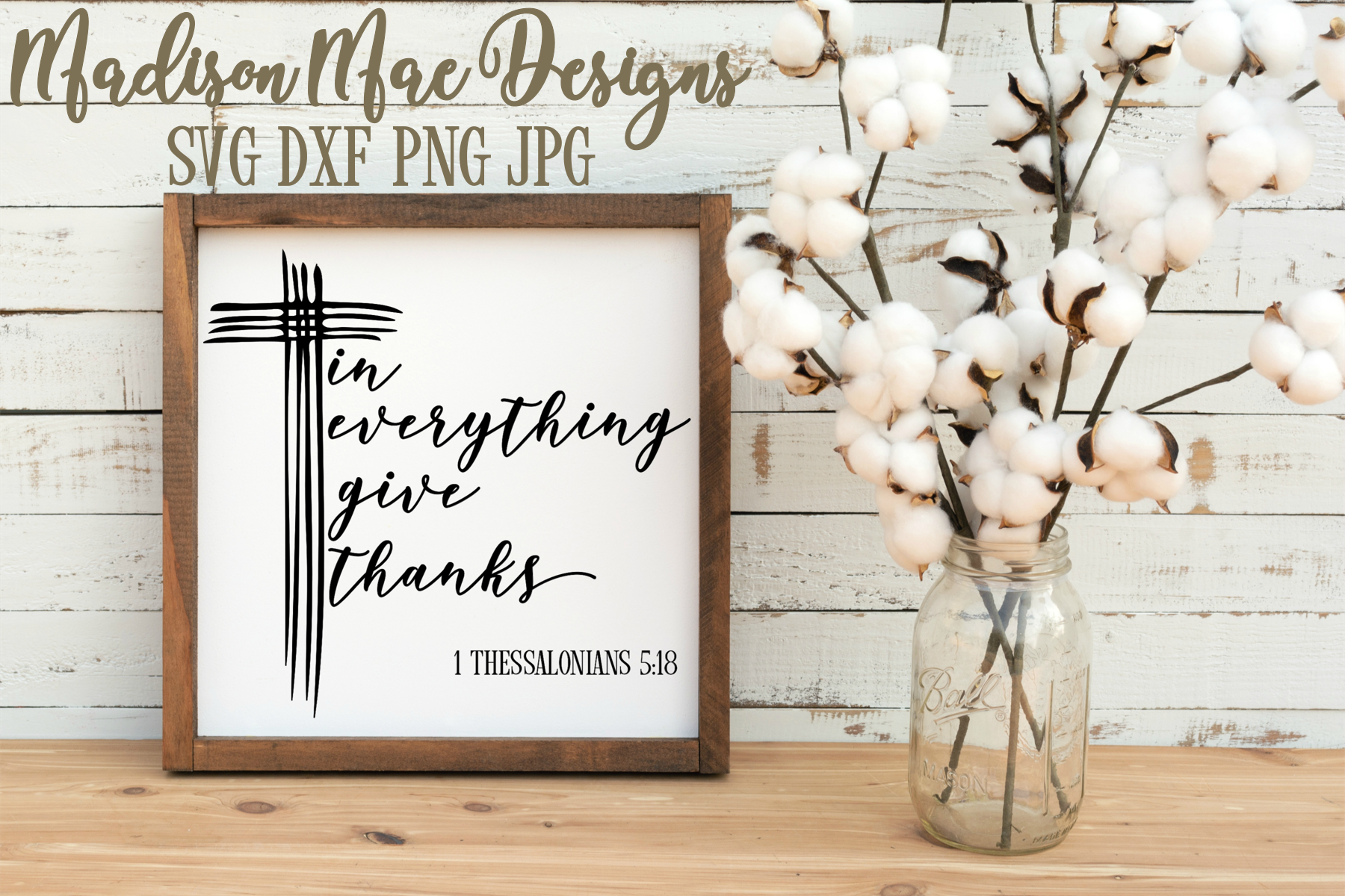 Bible Verse SVG | Christian SVG | In Everything Give Thanks example image 2