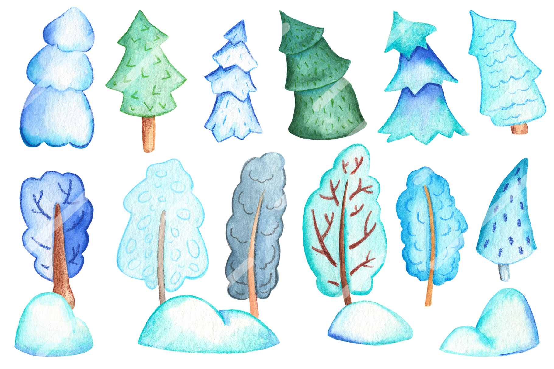 Watercolor Christmas Clipart And Seamless Patterns example image 7