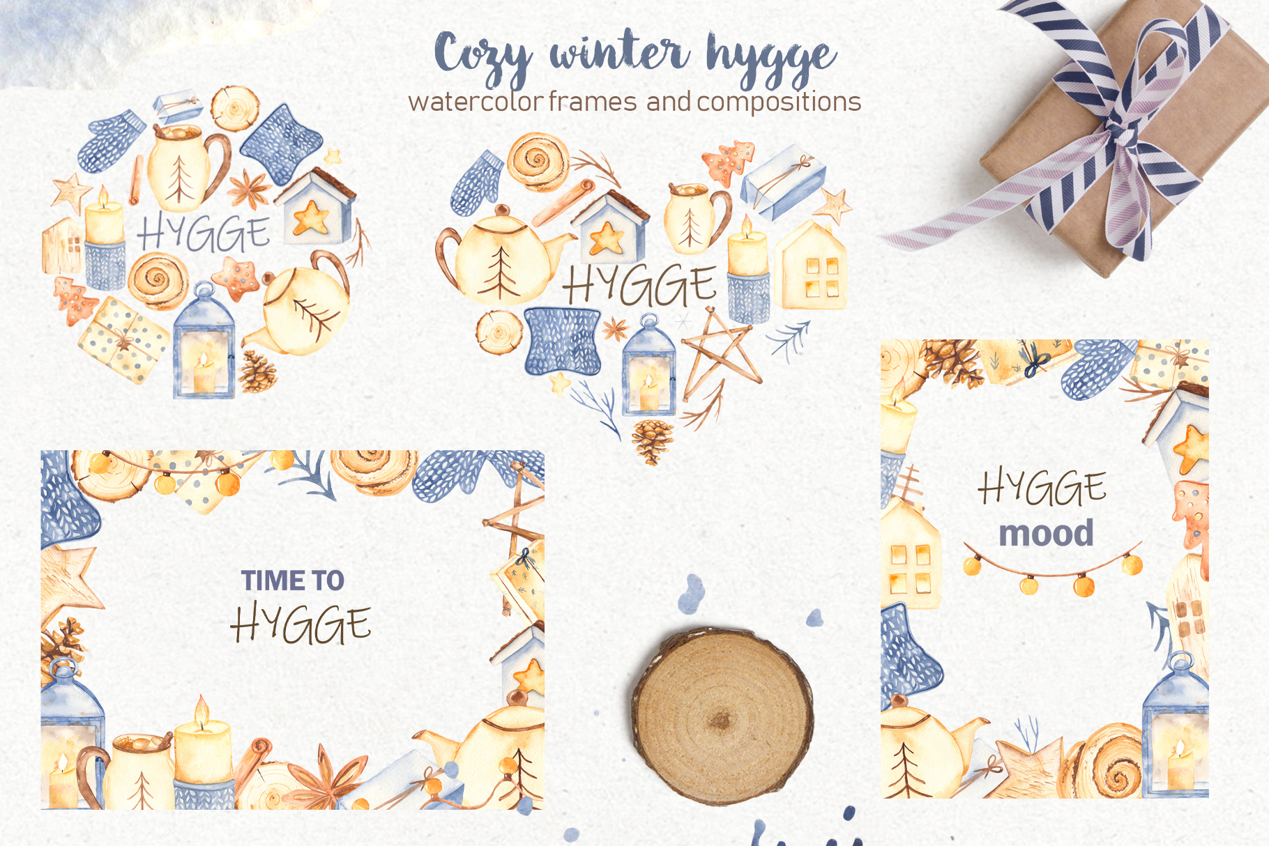 Hygge watercolor clipart Christmas cozy winter collection example image 4