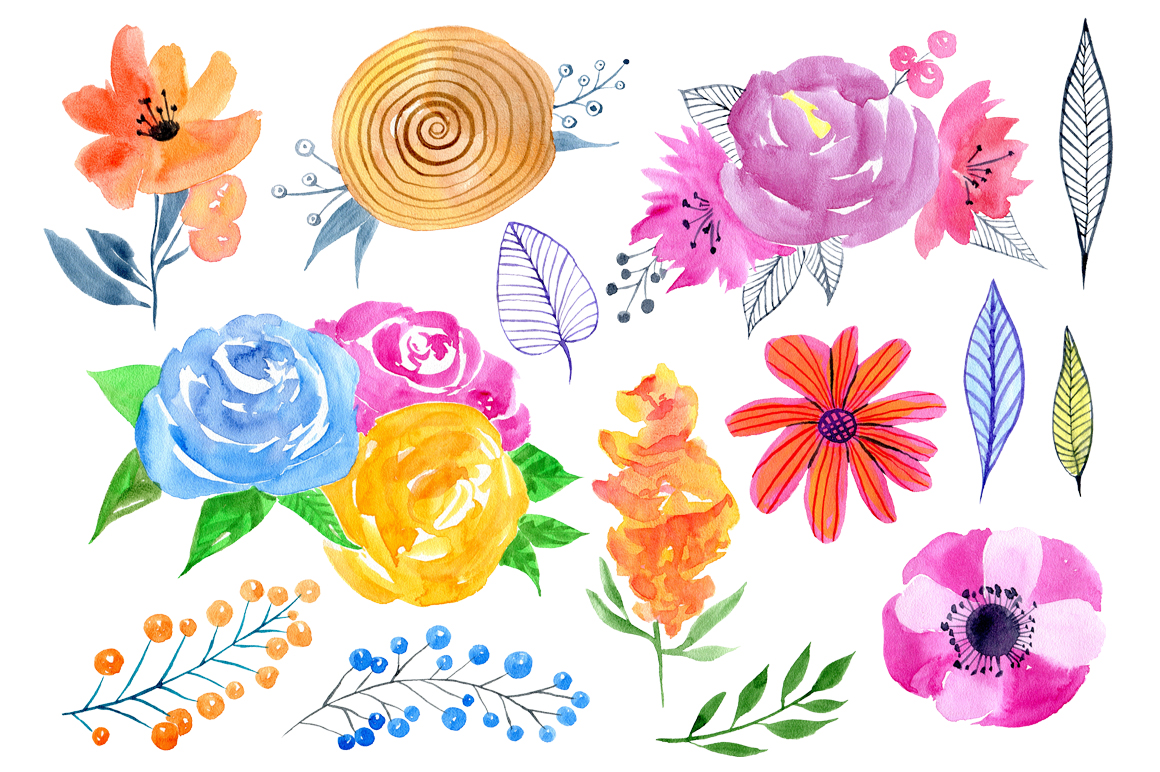 Watercolor floral big bundle, 97 png example image 5