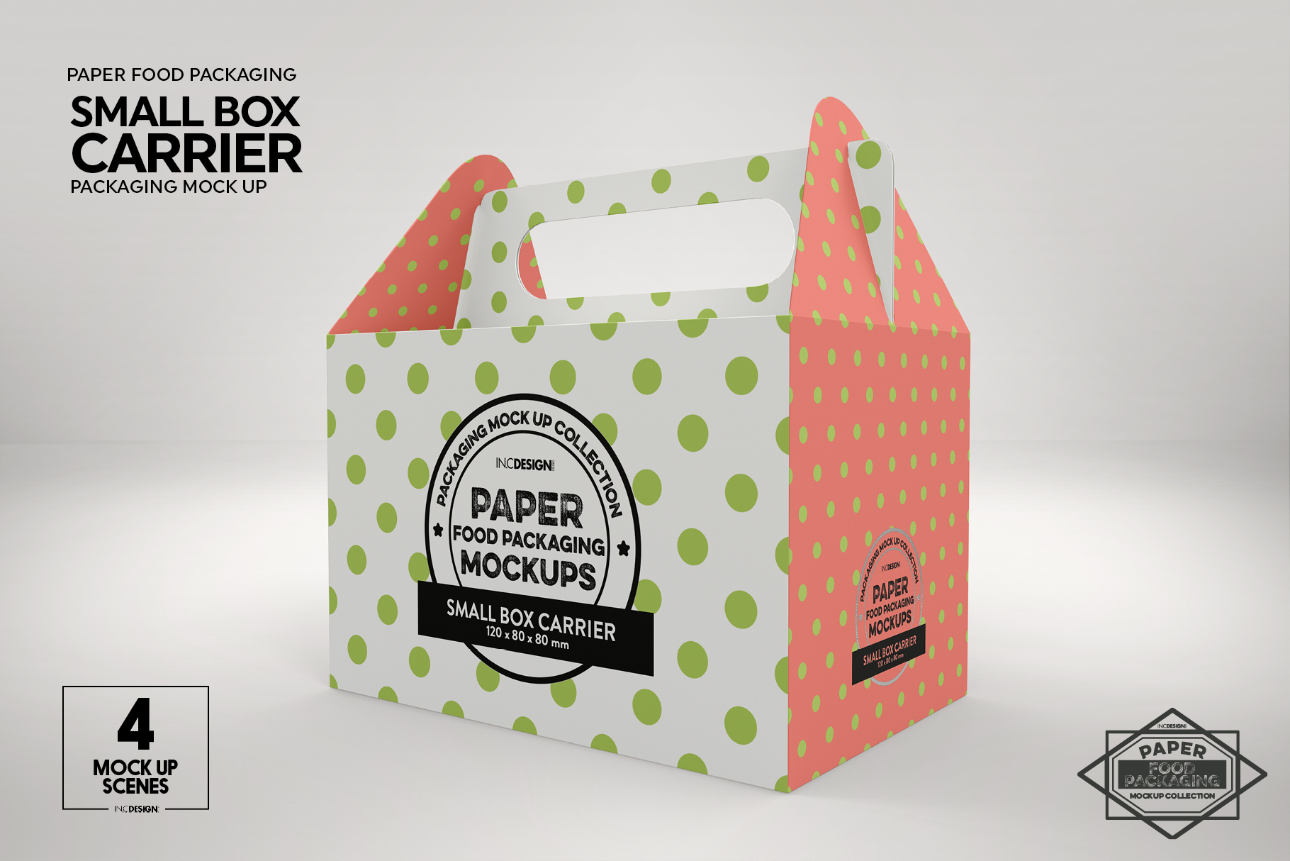 Small Cake Box Carrier Packaging Mockup example image 7