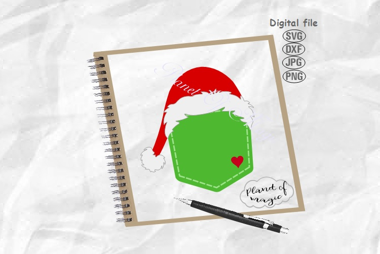 Santa Pocket Svg, Santa Hat Pocket Svg, Santa Hat Cut File example image 1