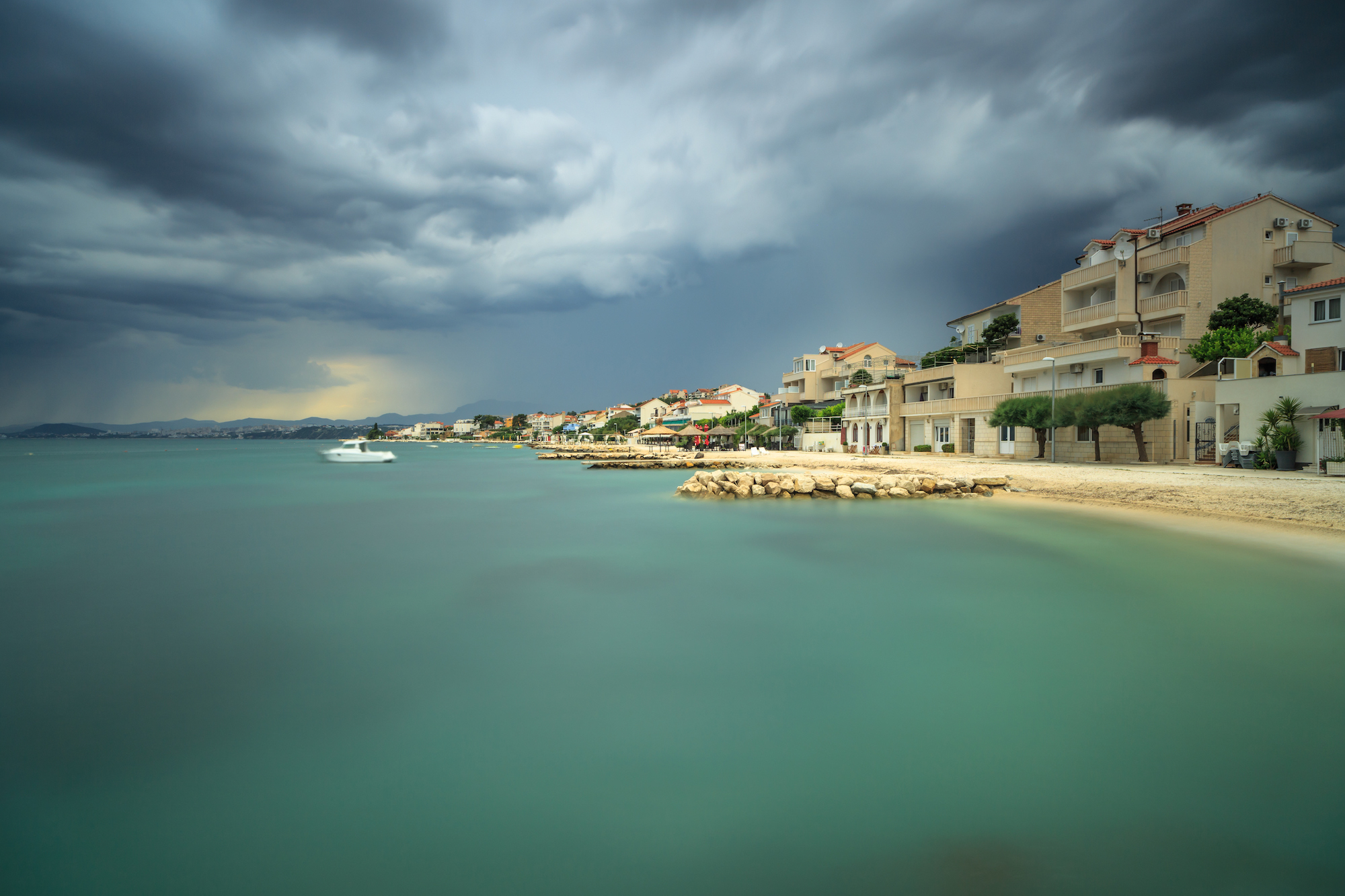 View on adriatic coast line before the storm in Croatia example image 1
